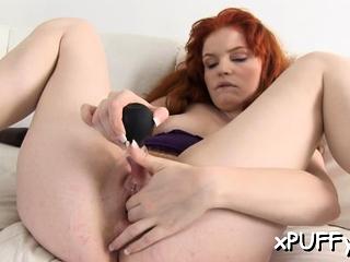 Pure redhead svetlana oils up her pussy